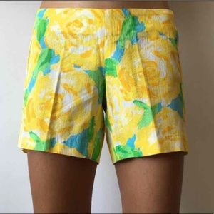 Lilly Pulitzer Deenie sunglow yellow floral shorts